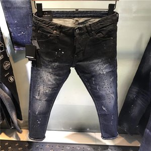 16.2020 высококачественных мужских джинсов, обеспокоенные джинсы, рок тощего, стройные, перфорированные полосы, моды вышитых джинсовые брюки