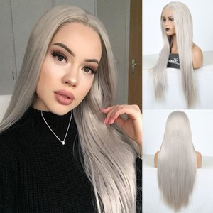 Silky Straight Heat Resistant Lace Wig Long Gray Synthetic Lace Front Wigs for Women Middle Part Grey Wig Daily Use