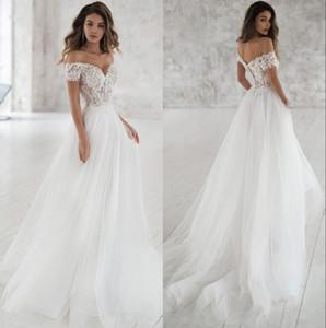Off-ombro vestidos elegantes do casamento Boho 2020 Custom Made Suave Tulle Illusion Lace Applique A-line vestido de casamento nupcial Vestidos de Novia