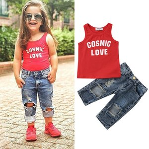 2 UNIDS Niños Pequeños Niños Bebés Chaleco Tops + Denim Pantalones Ripped Jeans Ropa Trajes
