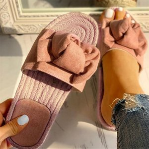 Summer Hot Sale Women Flip Flops Fashion Solid Color Bow tie Flat Heel Sandals Size 36-40 Outdoor Slipper Beach Shoes Female