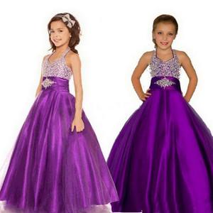Фиолетовый девушки Pageant платья Холтер Puffy Тюль атласная маленьких девочек Бальные платья выполненные на заказ Pageant платья для подростков