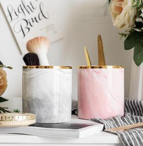 DHL Pen Holder подставка для стола Marble Pattern Pencil Cup для Прочного керамического стола Организатора н.д. Makeup Brush Держателя для офиса 9.8 * 8.7cm
