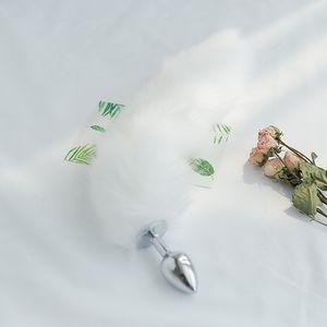 Freies Verschiffen Bett SM Anal Plug klein schöner Fox Schwanz Alternative für Frauen Spielzeug Sexspielzeuge Weiß Fuchsschwanz Senden 3 Beutel Schmiermittel