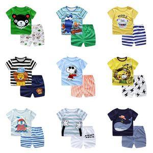 Çocuklar Karikatür Giyim Seti Erkek Kız T-Shirt Tops + Şort 2 Parça Suit Sevimli T Gömlek Kıyafetler Yaz Çocuk Giyim Setleri Poupas 73-110 cm