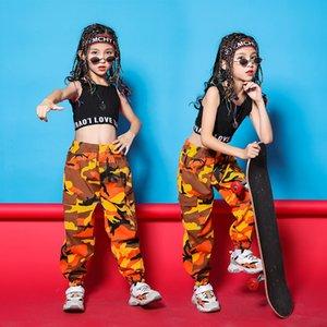 Costumes Meninas de dança jazz moderno camiseta laranja Camuflagem Calças Crianças Ballroom Hip Hop Dance vestir roupas Stage Outfit desgaste