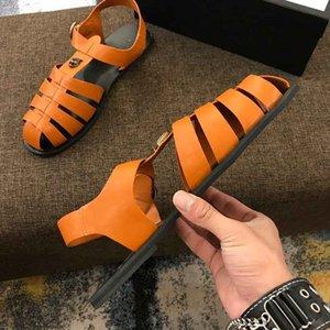 Brand Design sandálias de couro homens de vaca saco liso toe verão ao ar livre Esportes Praia Rebites chinelos casuais moda Ouro G Tiger Mocassins, 38-46