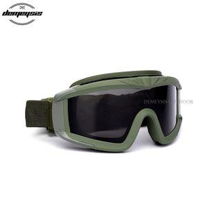 Lunettes de protection tactique de chasse Paintball Tir Lunettes anti-uv sécurité Airsoft Combat Cs Randonnée vélo Eyewears 3 Objectif