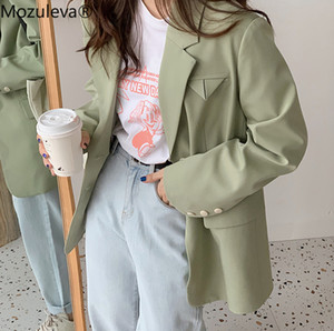 Mozuleva 2020 Lässig Grün Einreiher Frauen Blazer Büro-Damen Jackett Weiblicher Frühling eleganter Outwear blaser femininas