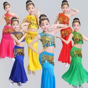 100-160CM de danse du ventre des femmes Journée des enfants épaule Off cosplay Fille scène Costumes Oriental Sequin pour Fish Tail Jupes enfants