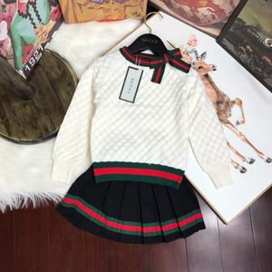De lujo de diseño de dos piezas de ropa de la muchacha del otoño del bebé de los vestidos de los niños de la ropa del traje 2019 de Corea del estilo de los niños del niño del suéter
