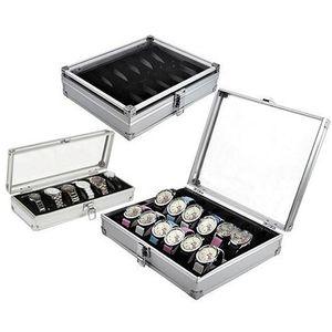 contenitore di vigilanza di griglia Slot comoda luce Watch Winder gioielli da polso di caso Orologi supporto dell'esposizione Storage Box in alluminio organizzare