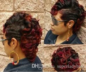 мода женские короткие волосы парик 99J синтетические парики вьющиеся объемная волна женские короткие шиньоны парики для волос шиньон