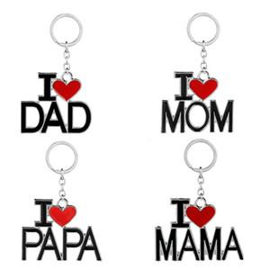 Portachiavi Cuore Design I Love MOM DAD Gioielli Metallo Famiglia Portachiavi Portachiavi Regali di compleanno per PAPA MAMA Portachiavi auto di moda