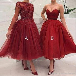 Onur Elbise Of Vintage Kırmızı Artı boyutu Balo Gelinlik Modelleri 2020 Dantel Aplikler A-Line Ayak bileği Uzunluğu Wedding Guest Parti Önlük Hizmetçi