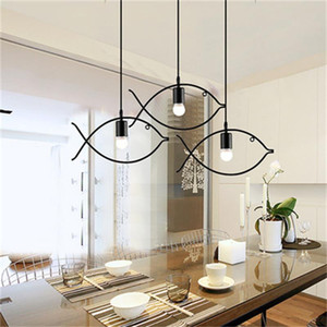 Indoor semplice Modern Chandelier Pandent lampada Pesce Animal E27 AC220V Black Ball Living Room Restaurant Coffee Bar Art Deco casa