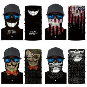 Disfraces Qz0YC cuadrícula Máscaras del cráneo mágico al aire libre sin fisuras Versátil cráneo bufanda máscara de calavera Bufanda de ciclo RidingWarm Pañuelo de Halloween Fa # 552