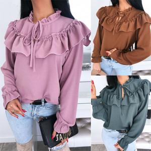 2020 Outono Mulheres elegante blusa Primavera Shirt Casual Feminino Top elegante cor sólida alta Neck Ruffle guarnição Blusa Feminino Blusas