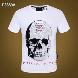 2019 Automne Hommes T-shirt De Mode hommes t-shirt à manches courtes Vêtements Casual Skull Lettre imprimer Hip Hop Tops Mâle Tee # 1825