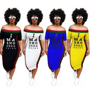 lettre imprimée sexy robe crayon midi dame col ras du cou manches courtes t-shirt décontracté robe été côté vêtements de bandage rayé