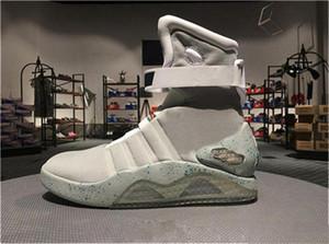 Sınırlı Sayıda Hava Mag Geleceğe Dönüş Glow Karanlık Gri Sneakers Marty McFly LED Ayakkabı Siyah Mag Marty McFlys Kutu ile Çizmeler