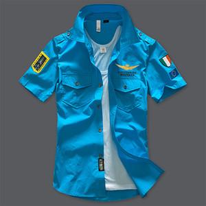 Mode-Mens Chemises Pilotes Chemises Casual à Manches Courtes Col Rabattable MA1 Hauts D'avions De Mode T-shirts Vêtements