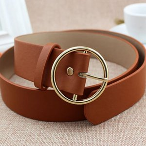 New Gold Round Metal Circle Belt Female Gold Silver Black White PU Leather Waist Belts for Women Jeans Pants Wholesale