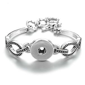 Interchangeable Bijoux Charms Ginger Bracelet 1-Snap poignet 18mm Bouton Charm Bracelets argent plaqué pour les femmes Bijoux