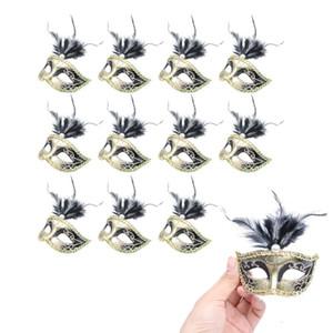 24 Pezzi Mini Decorative Masquerade Mask Decorazione per feste piuma Mardi Gras Maschera veneziana Party Favors