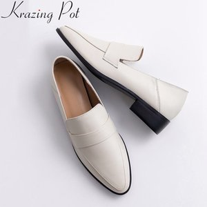 Krazing Pot 2020 superstar slip on round toe cow leather women pumps med heel office lady loafers solid neutral casual shoes L05 Y200702