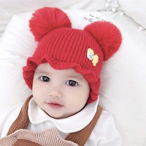 المزدوج الكرة شتاء دافئ لطيف الوليد فتى بنات الكروشيه الطفل قبعة للجنسين بوم بوم فراء ثعلب حقيقي الكرة بيني الطفل كاب