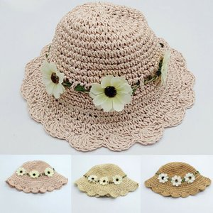 Children Straw Sunhat Breathable Summer Beach Princess Travel Straw Flower Hats Baby Cute Sun Hats