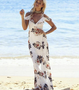 Abiti senza maniche stampato cinghia di spaghetti del vestito dalla spiaggia Sexy Lady Designer Abiti Donna Abbigliamento casual Donne Flora Estate