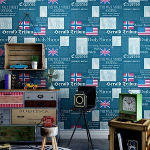 Vintage vecchio giornale carta da parati moda negozio decorazione barbiere studio personalità inglese lettera parete bandiera domestico famiglia decorazione rotolo