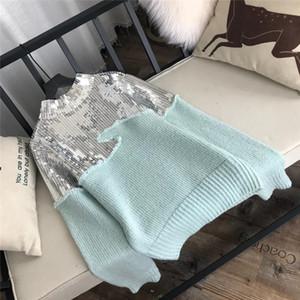 Livraison Mode sans Designer 2018 Aqua vert Paillettes Pull blingbling Paillettes Patchwork overs Femmes 827781