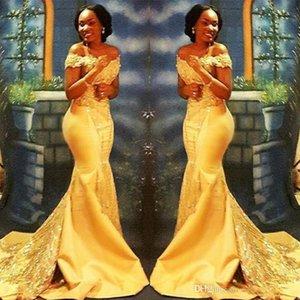 Afrika Nijeryalı Sarı Mermaid Gelinlik Modelleri Uzun 2019 Kapalı Omuzlar Dantel Payetli Saten Akşam Balo Abiye BA8405