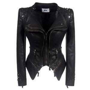 Women Faux Leather PU Jacket Winter Autumn Black Motorcycle Jacket Outerwear Gothic Faux Rivets Leather Biker Coats Chaqueta