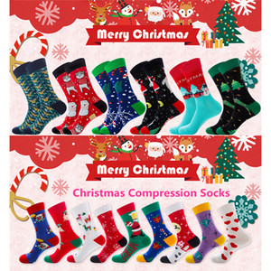 Christmas Compression Socks New Fashion Cotton Autumn Winter New Year Christmas Tree Snow Elk Gift Compression Socks