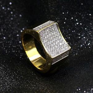 Plaqué or blanc 18K cz zircon Vintage Rectangle Bague Hip Hop Bling Diamond Rings Bijoux Cadeaux pour hommes 14mm Taille 7-11 en gros