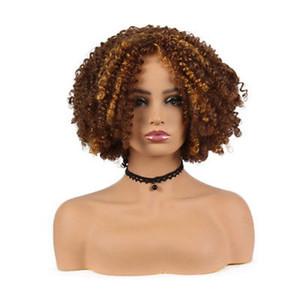 Peruca de cabelo curto encaracolado mulheres Ombre Brown Afro Kinky Curly perucas de cabelo sintético