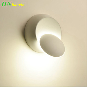 HaoXinLED Wall Lamp 360 degree rotation adjustable bedside light white Black creative wall lamp Black modern aisle round lamp