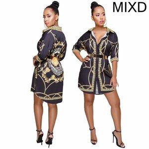 Fashion-Womens Дизайнерское платье Дизайнерские платья для печати Повседневная рубашка с символом буквы Pattern Sexy Sexy Pattern Плюс Размер одежды