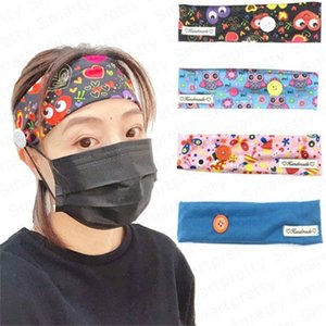Women Cartoon Sports Band hairband Wrap Face Cover Headbands with Button Girls Women Hairlace Face Mask headress Hair Accessories E4912