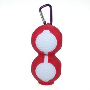 Golf Ball Sleeve Silica Gel Double Balls Bag Outdoors Motion Storage Supplies Hook Design Pink Yellow 4 5gh C1
