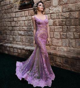 Luz púrpura cordón de la sirena vestidos de baile atractivo ver a través de la blusa de tul hasta el suelo Apliques de las lentejuelas vestido de noche Vestidos Sexy cuello en V Vestidos