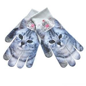 Quente Impresso engraçado animal Homens Mulheres Winter Mittens 3D Imprimir Luvas de tela de malha Toque Mittens chapéus, lenços Luvas Luvas Luvas Invi