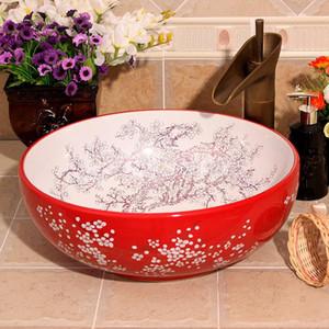 Vermelho e branco cor Jingdezhen fábrica lavatório diretamente cerâmica