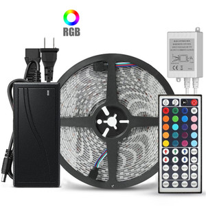 10M 5M flexible RGB LED Strip 5050 SMD 5M 300 LED 10M 600 LEDs avec régulateur 44key IR REMOTE