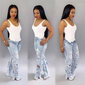 Woman Plus Size Female Denim Wide Leg Pants 2020 High Waist Jeans Womens Designer Ripped Flare Jeans Bleach Skinny Jeans