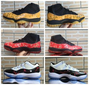 nike Air Jordan 11 Mid AJ11  deporte 2020xiong Nueva Dragón Amarillo dragón rojo zapatos de baloncesto de los hombres Negro Rojo universo galaxia bajo encargo con la caja